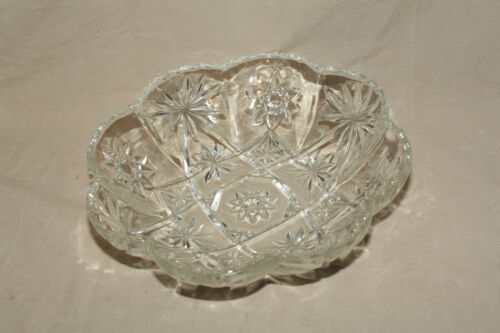 ANCHOR HOCKING EAPC STAR OF DAVID 11 3/4 IN. PANELLED BOWL MINT 9124