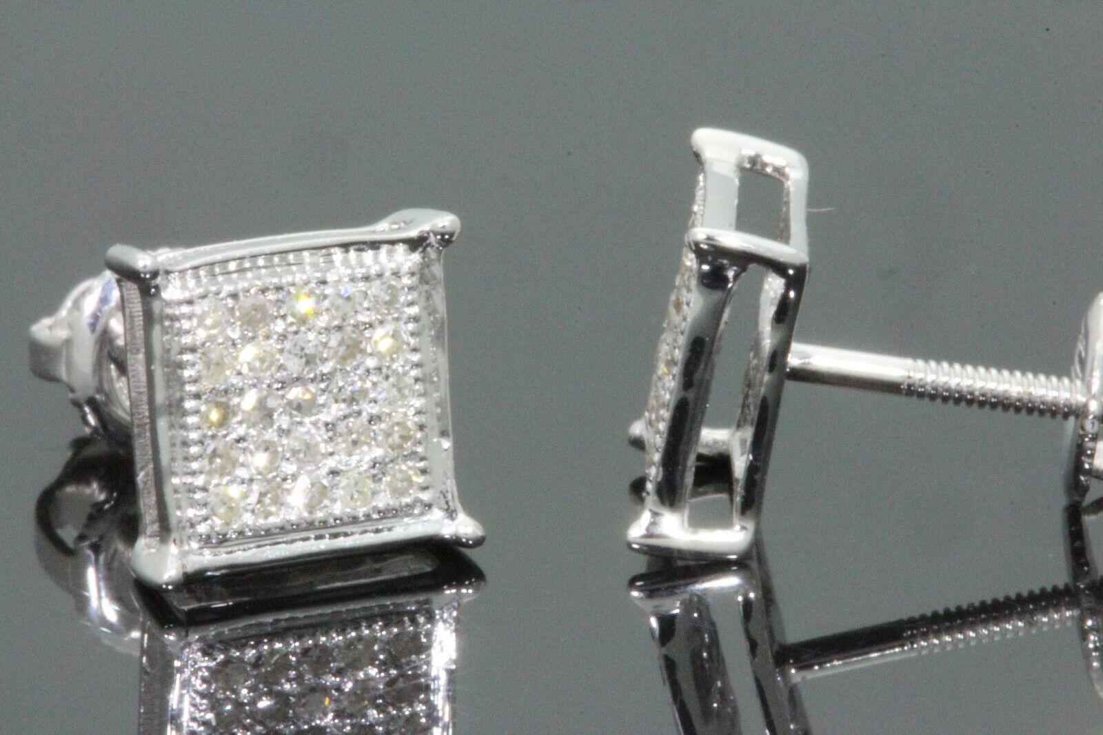 10K WHITE GOLD .20 CARAT MENS WOMENS 6 mm 100% GENUINE DIAMONDS EARRING STUDS