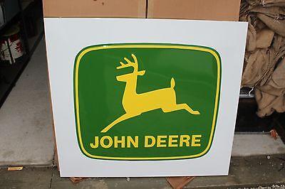 """Vintage John Deere Farm Tractor Dealership 42"""" Embossed Metal Sign W/Box~Nice"""