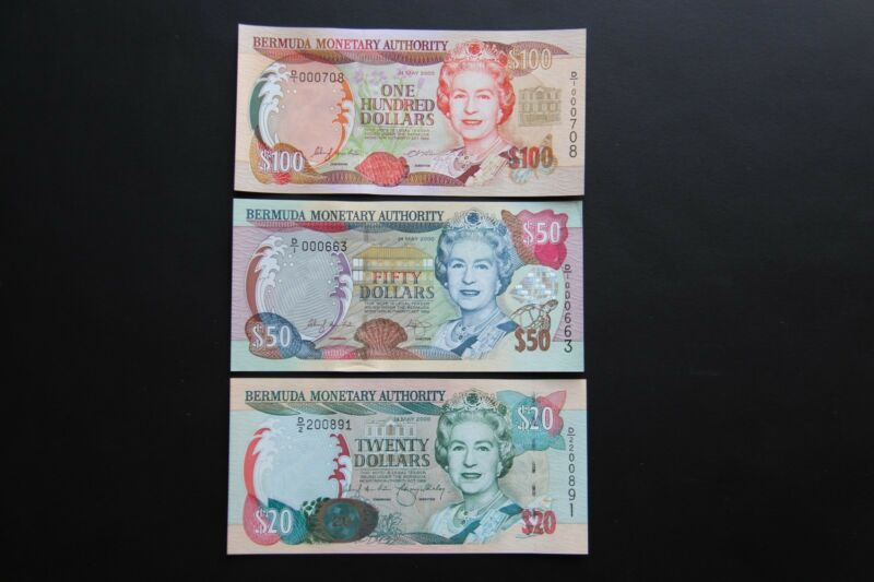 Bermuda Set of $20 $50 $100 Dollar Banknotes 2000 Low Serial # UNC