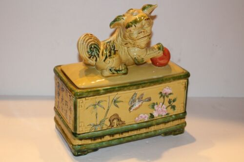 Vintage Chinese Foo Dog Pottery Box