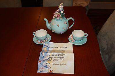 Laraine Eggleston LE teapot, cups saucers Bugs Mermaid AP #1 of 300 Mrs. Bunny