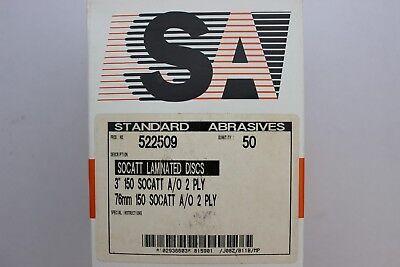 "SA STANDARD ABRASIVES 3/"" Socatt Pinnacle 2-Ply Grit 40 Sanding discs 525513 50"