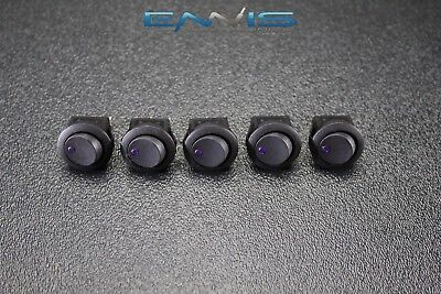 5 Pcs Round Rocker Switch 34 Hole 16 Amp 12v 3 Pin Purple Led Toggle Ibrrsp