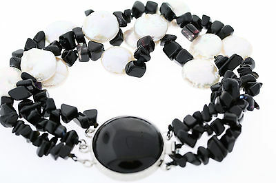 Sterling Silver 3-Strand Genuine Black Onyx & White Coin Pearl Bracelet