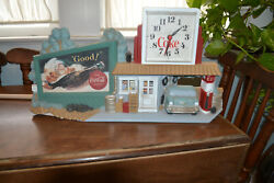 Vintage 1990 Coca - Cola Wall Clock  Gas Station  Rt 66 Billboard