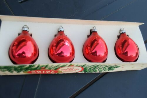 shiny brite vintage ornaments red box of 4