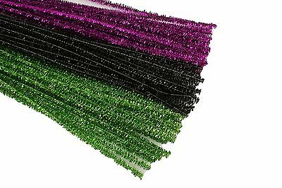 HALLOWEEN Set of 75 Metallic Tinsel Chenille Pipe Cleaners for Kids - Kids Halloween Craft