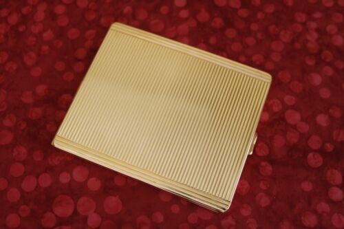 "Art Deco style vintage gold tone metal CIGARETTE CASE 4¼"" x 3½"" in box XLNT!"