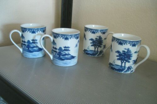 "Set of 4 Canton Blue 3 7/8"" Mugs Made in China"