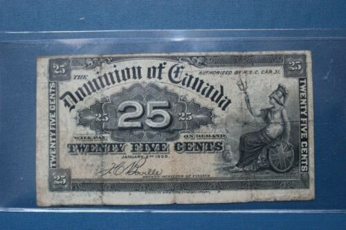 DOMINION of CANADA, 25 CENTS,  1900 , ERROR, NEXT NOTE SHOWING