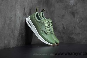 WOMENS NIKE AIR MAX THEA PREMIUM LEATHER TRAINERS - UK SIZE 5 - PALM GREEN/WHITE