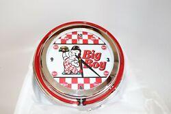 Bobs Big Boy Checkered Chrome Double Ring Neon Clock Home Restaurant Kitchen