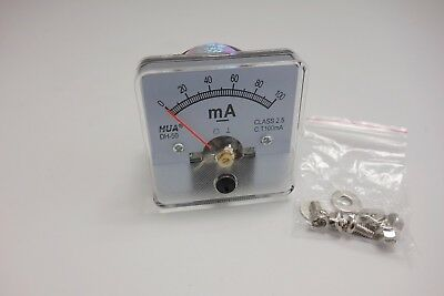 1pc Dc 0-100ma Analog Ammeter Panel Amp Current Meter 5050mm Direct Connect