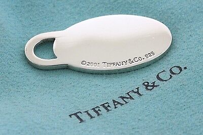 Tiffany & Co. Sterling Silver 925 Oval Classic Plain Engravable Tag Pendant ()
