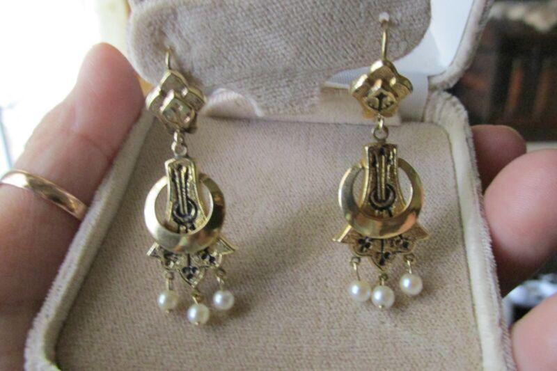 Antique Victorian Edwardian  Seed pearl Enamel Earrings 14k Yellow Gold