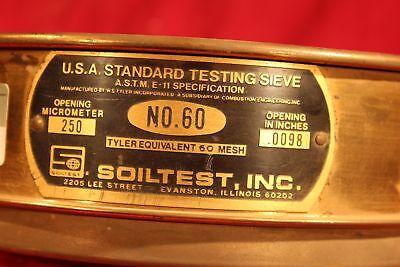 U.s.a Standard 8 Test Sieve A.s.t.m.e. 250 Micrometer.0098 Soiltest 60