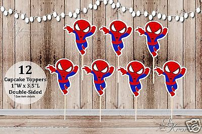 Set of 12 Boy Spiderman Inspired Action Superhero Double Sided Cupcake Toppers - Spiderman Cupcake Picks