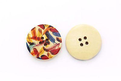 Large Feather Print Wooden Button BOHO Hippie Bohemian Four Holes DIY 30mm 10pcs
