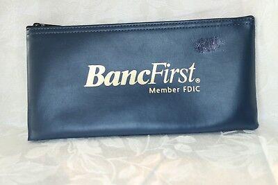 Vintage BancFirst Member FDIC Money Deposit Bag Vinyl dark blue FREE SHIPPING