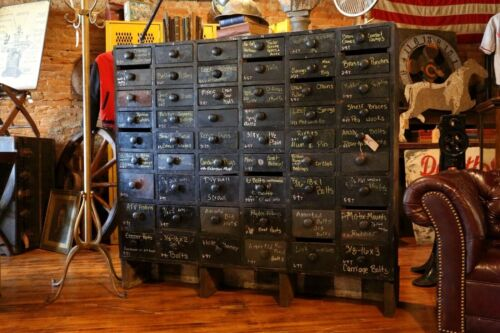 Antique Apothecary Cabinet 54 Drawer Black Vintage Wood Cubby Hardware Store Old