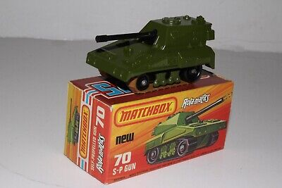 MATCHBOX SUPERFAST #70 S-P GUN MILITARY ARMY TANK, EXCELLENT, BOXED