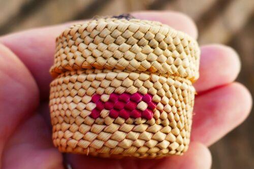 Native Nootka Woven Vivid Polychrome Treasure Basket - Geometric Fish Design