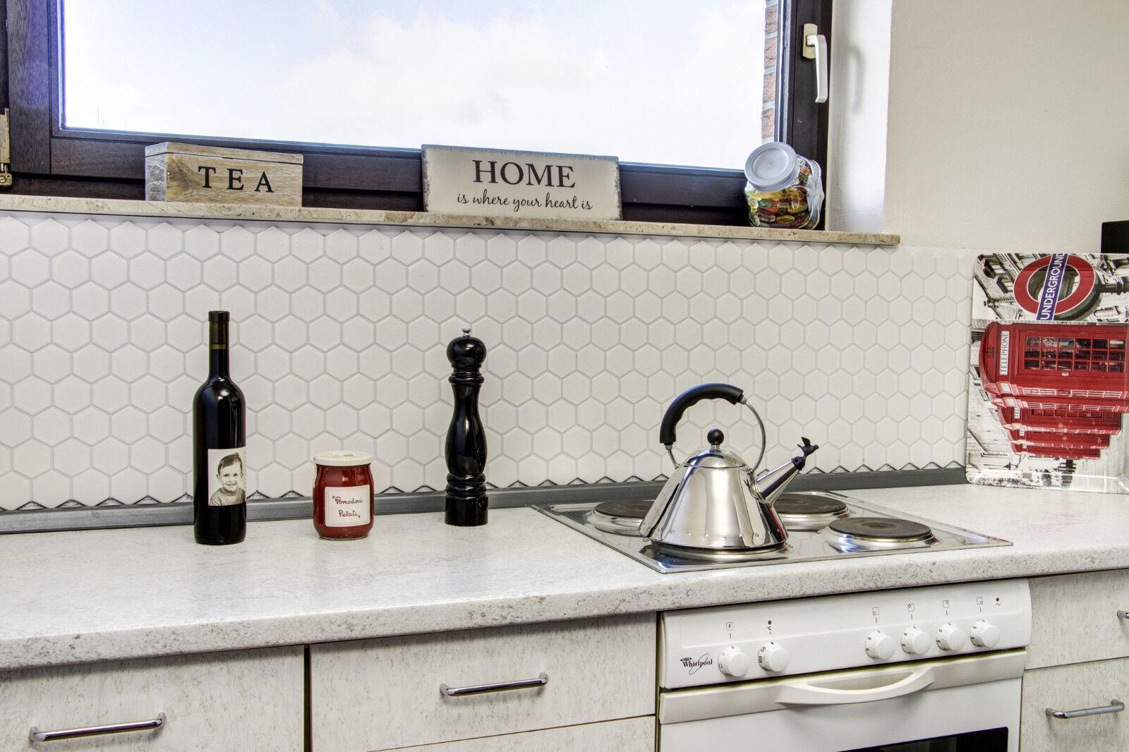 Küchenrückwand Fliesenspiegel Mosaik Keramik Hexagon weiß Glanz Art ...