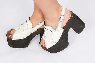 f90ebee6b30 RARE 60s 70s vintage black   white leather platform heels open toe Glamrock  boho