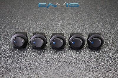 5 Pcs Round Rocker Switch 34 Mount Hole 16 Amp 12v 3 Pin Blue Led Toggle Ibrrsb