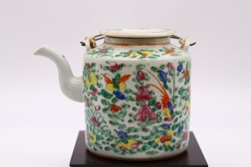 Chinese Antique Famille Rose Porcelain Teapot With Flowers and Butterflies