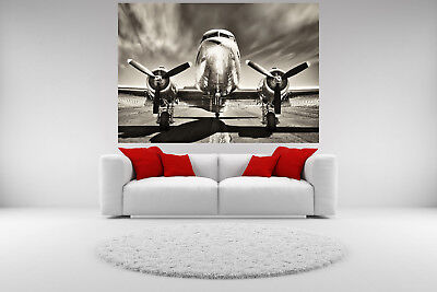 DC-3 Airplane Vintage Canvas Giclee Print Picture Unframed Home Decor Wall Art  ()