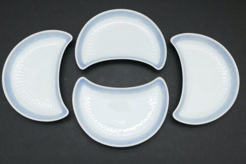 "Set of 4 ROYAL COPENHAGEN Blue Fan Crescent Side Salad Plates Denmark 1212 8"""