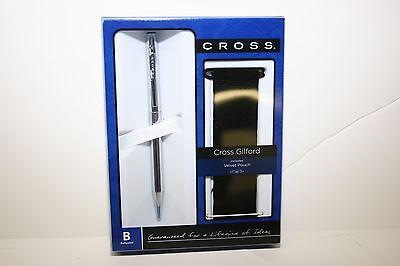 Cross Gilford Chrome Ballpoint Pen Velvet Pouch