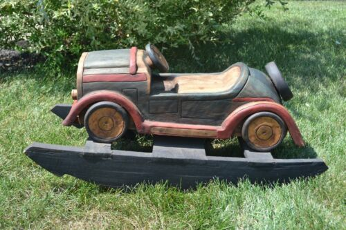 Hand Made Carved Folk Art Rocking Horse Car Vintage Solid Wood Kids Toy