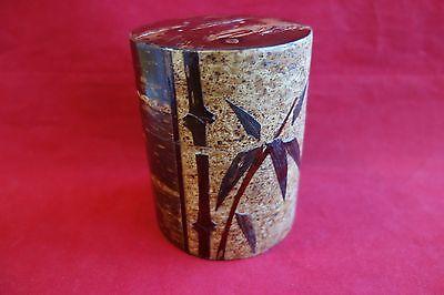 Tea caddy Sakura bark Bamboo design Japanese green tea Chazutsu made in Japan