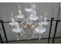 9-armiger Lüster aus Glas mit blauen Elementen Bayern - Wehringen Vorschau