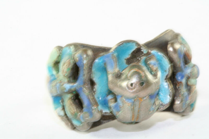 VINTAGE ANTIQUE CHINESE STERLING SILVER ENAMEL FROG BUTTERFLY RING