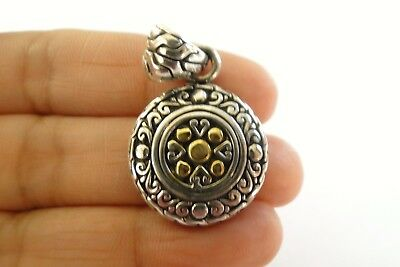 Balinese Plain No Stone Round Disc 18 K Gold Vermeil 925 Sterling Silver -