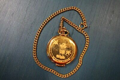 Rare Mickey Mouse Pulsar Disney Pocket Watch W/Watch Fob Gold Tone Needs Battery