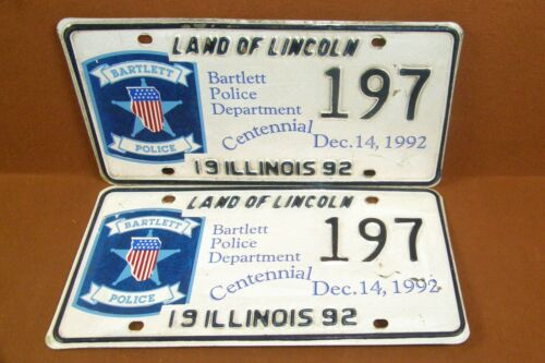 1992 Bartlett Illinois Police LAW ENFORCEMENT License Plate SPECIAL EVENT Cent.