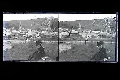 Belle fashion woman 1900city to identify Large plate stereo NEGATIVE