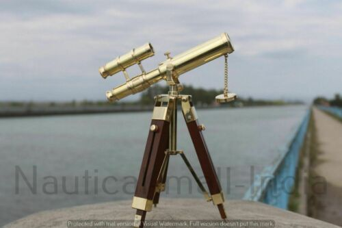 Nautical Telescope 10 Inch Double Barrel Solid Brass Spyglass With Wooden Tripod