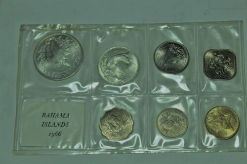 Bahamas 1966 Gem Unc 7 Coin Mint Set (MS2) 1st Year~2 Silver Coins~500k Minted~