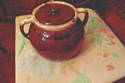 Vintage U S A  Brown Drip Bean Pot / Cookie Jar Open Handles