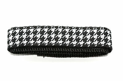 CHUMS THE BAND 18-20MM HOOK & LOOP BLACK WHITE HOUNDSTOOTH ONE PIECE WATCHBAND
