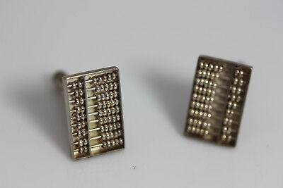 """Nice Vintage Sterling Silver Articulated Abacus Cufflinks .75"""" – 12397"""