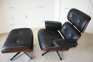 Rosewood Lounge Chair and Ottoman Black Aniline Leather - Eames Style