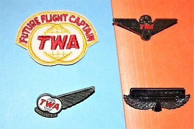 1950 TWA AIRLINES FUTURE FLIGHT CAPTAIN HAT BADGE PATCH JUNIOR PILOT WINGS LOT