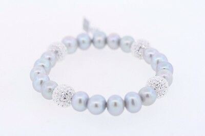 8-9mm Grey Silver Genuine Cultured Freshwater Pearl & Crystal Stretch Bracelet